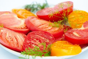 Salad from ripe a tomato