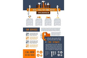 Vector poster for house repair service work tools