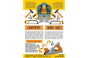 Vector poster of carpentry woodwork work tools