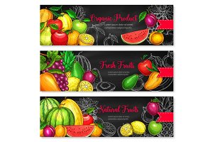 Vector banners for tropical exotic fruits market
