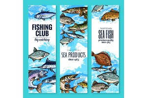 Vector banners set of fish catch for fishing club