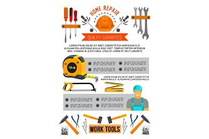 Vector poster of work tools for home repair