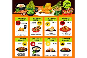 Vector menu of Japanese cuisine restaurant
