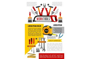 Work tools vector poster for house repair design