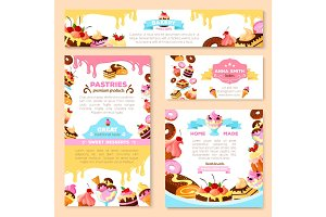 Vector templates of bakery shop or cafe patisserie