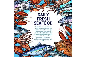 Vector poster for seafood or fish food market