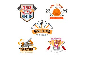 Vector icons of work tools for house repair