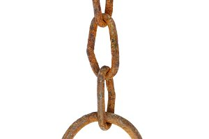 An old rusty chain with a ring