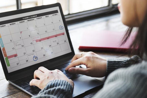 Woman working with her schedule