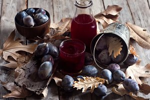 Homemade plum juice