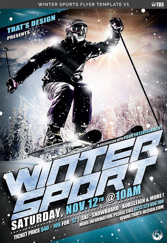 Winter Sports Flyer Template V1 Flyer Templates Creative Market