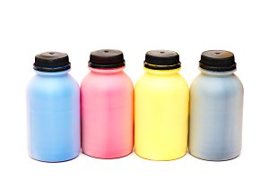 Four color bottles of a paint