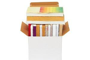Cardboard box with books