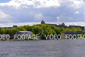 Ivangorod fortress stand on banks of Narva river