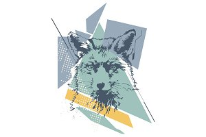Fox face Abstract vector