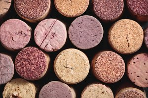 Top view of wine corks