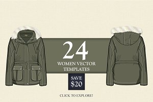 24 Women Vector Apparel Templates