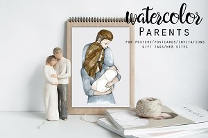 Hand drawn Watercolor Parents