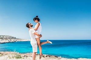 Loving couple on sea