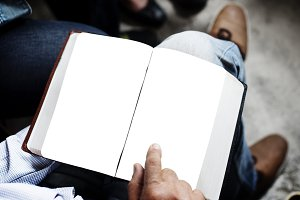 Person using book (PNG)