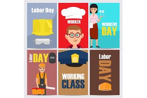 International Labor Day Themed Illustrations Set