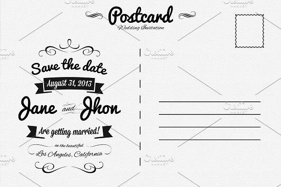 Elegant Wedding Invitation Postcard Invitation Templates on – Wedding Postcard