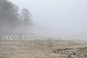 Thick fog spread on sandy beach of Finnish gulf