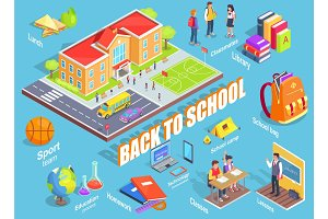 Back to School Illustration with Various Objects