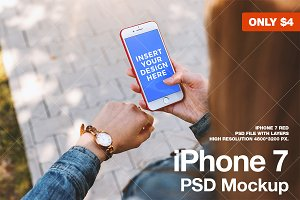 Woman is planning. iPhone PSD Mockup