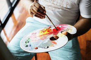 Artist painting color