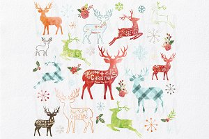Watercolor Christmas Reindeer Design