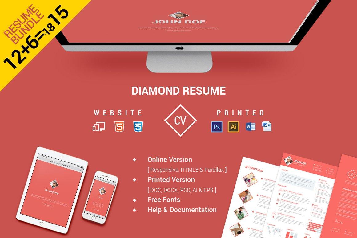cvresume bundle website print resume templates creative market