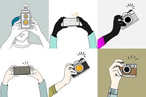 Vector of hands holding gadgets