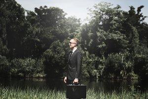 Businessman holding bag