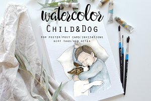 Watercolor Child & Dog