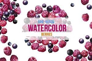 Watercolor Hand-Painted Berries