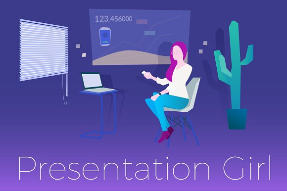 Presentation Girl Vector
