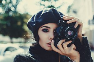 Beauty woman make photo