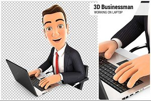3D Businessman Works on Laptop