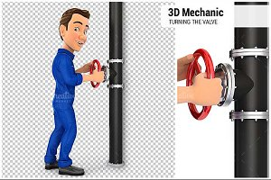 3D Mechanic Turning the Valve