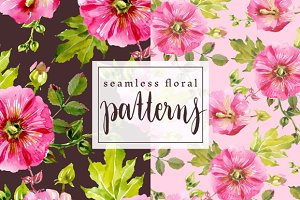 Magenta Mallow seamless Patterns