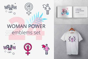 Women Power emblems set