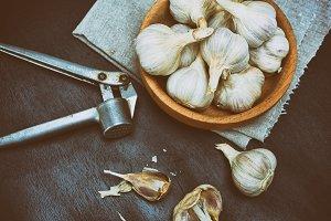 Harvest garlic in husk