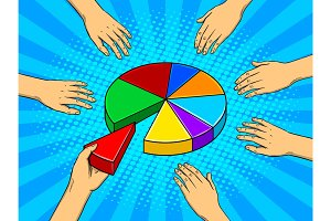 Hands taking pieces of pie chart vector
