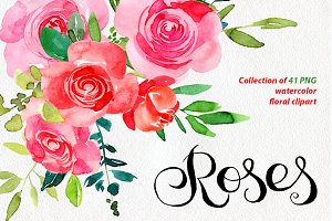 Red & pink watercolor roses PNG