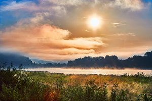 Lithuanian nature, foggy landscape