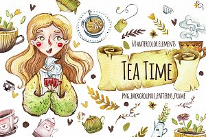 Watercolor images. Tea time