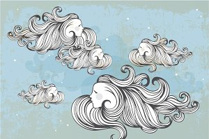 hand drawn clouds