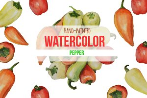 Watercolor Hand-Painted Peppers