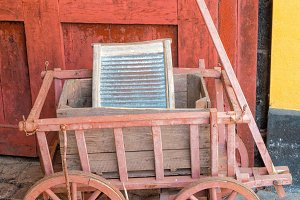 Old hand truck and washboard